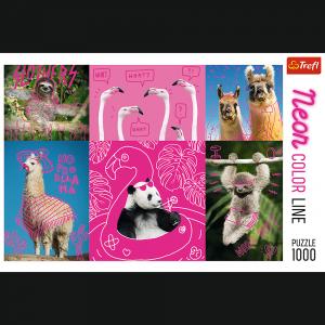 TREFL Puzzle 1000 el. Neonowe Color Line, Szalone zwierzaki (10594)