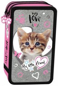 Piórnik St.Majewski podwójny z wyposażeniem My Little Friend CAT PINK Kotek w różu (04982)