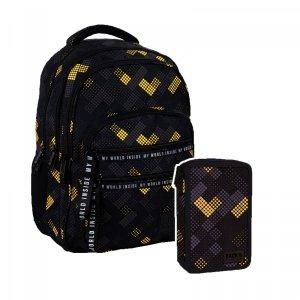 ZESTAW 2 el. Plecak szkolny młodzieżowy BackUP 28 L klocki, V-MEN (PLB4M44SET2CZ)