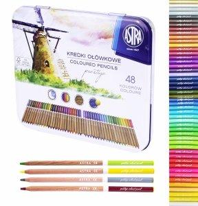 Kredki ołówkowe PRESTIGE z drewna cedrowego 48 kolorów ASTRA (312121003)