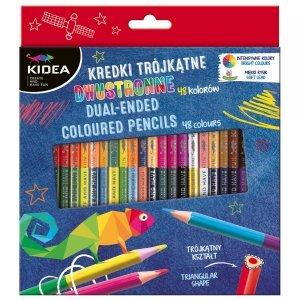 Kredki trójkątne dwustronne 24/48 kolory KIDEA (KTD48KKA)