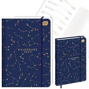 Kalendarz książkowy A5 METALLIC GALAXY gwiazdy 2022 (00300)