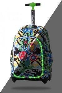 Plecak CoolPack JACK LED na kółkach z naszywkami, AVENGERS BADGES (B52308)
