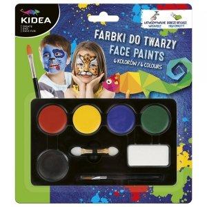 Farbki do malowania twarzy 6 kolorów KIDEA (FDT6KA)