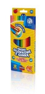 Kredki ołówkowe trójkątne 12 kolorów z gumką ASTRA (312119001)