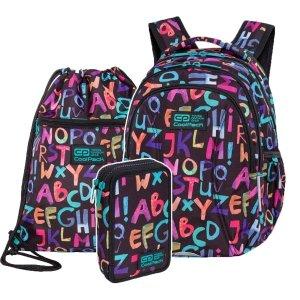 ZESTAW 3 el. Plecak wczesnoszkolny CoolPack JOY S 21L alfabet, ALPHABET (C48236SET3CZ)