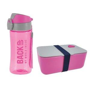 Zestaw bidon i śniadaniówka BackUP różowy (BB3A+SB3A57)
