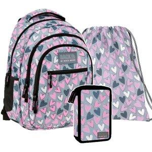 ZESTAW 3 el. Plecak szkolny młodzieżowy BackUP 26 L SERCA (PLB3O04SET3CZ)