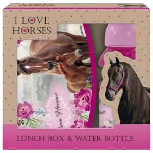 Zestaw bidon i śniadaniówka w kartoniku I Love Horses KONIE (ZSBKO18)