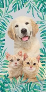 Ręcznik plażowy kąpielowy 70x140 Sweet Animals Piesek i kotek (WZÓR21)