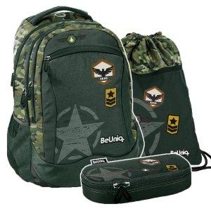 ZESTAW 3 el. Plecak szkolny młodzieżowy moro, ARMY Paso (PPAR20-2808SET3CZ)