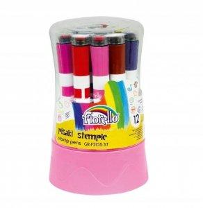 Pisaki ze stempelkami w pudełku FIORELLO 12 kolorów  (160-2114)