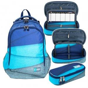 ZESTAW 2 el. Plecak szkolny młodzieżowy ST.RIGHT w melanżowe paski, MELANGES STRIPES BP57 (26982SET2CZ)