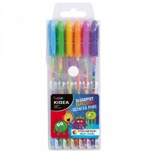 Długopisy żelowe 6 kolorów Tęczowe Zapachowe KIDEA (DZZ6KA)