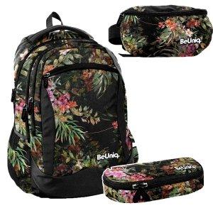 ZESTAW 3 el. Plecak szkolny, młodzieżowy na kółkach kwiaty, FLOWERS Paso (PPRS20-1231SET3CZ)