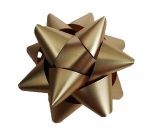 Rozetka wstążka do pakowania prezentów ZŁOTA 8,5 cm