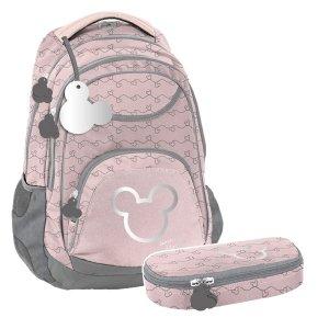 ZESTAW 2 el. Plecak szkolny młodzieżowy Myszka Minnie, MINNIE SILVER Paso (DISK-2708/16SET2CZ)