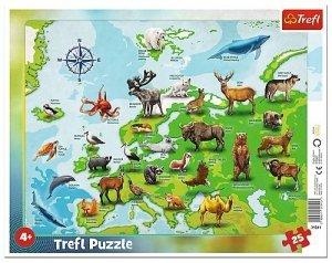 TREFL Puzzle Ramkowe 25 el. MAPA EUROPY ZE ZWIERZĘTAMI (31341)