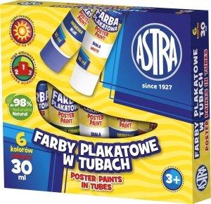 Farby plakatowe w tubach 6 kolorów 30 ml ASTRA (83119900)