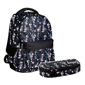 ZESTAW 2 el. Plecak szkolny młodzieżowy kwiatuszki, ROSE Paso (PPRO20-2705/16SET2CZ)