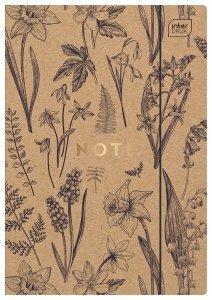Teczka rysunkowa A4 KRAFT z gumką Kwiaty EKO (93893)