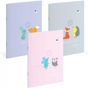 3x Zeszyt A4 w kolorową linię 32 kartki B&B Kids Pastel MIX (97433SET3CZ)
