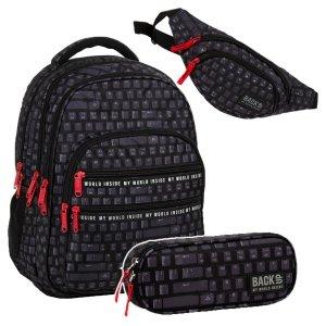 ZESTAW 3 el. Plecak szkolny młodzieżowy BackUP 28 L KLAWIATURA (PLB3M45)SET3CZ