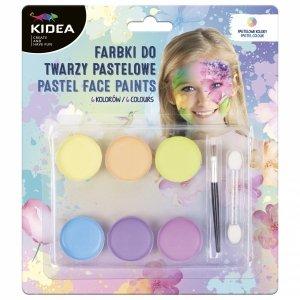 Farbki pastelowe do malowania twarzy 6 kolorów KIDEA (FDTP6KA)