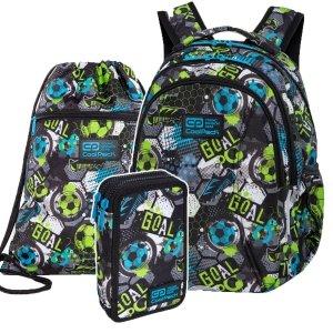 ZESTAW 3 el. Plecak wczesnoszkolny CoolPack JOY S 21L piłka nożna, FOOTBALL (C48230SET3CZ)