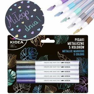 Pisaki metaliczne 5 kolorów mazaki flamastry KIDEA (PMA5KKA)