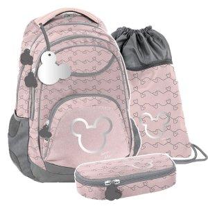 ZESTAW 3 el. Plecak szkolny młodzieżowy Myszka Minnie, MINNIE SILVER Paso (DISK-2708/16SET3CZ)