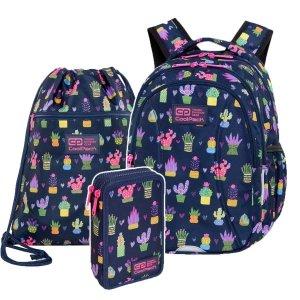 ZESTAW  3 el. Plecak wczesnoszkolny CoolPack JOY S 21L kaktusy, CACTUS (C48237SET3CZ)