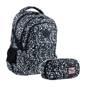 ZESTAW 2 el. Plecak szkolny HASH 27 L czarny kamień, BLACK TERRAZZO (502020045SET2CZ)