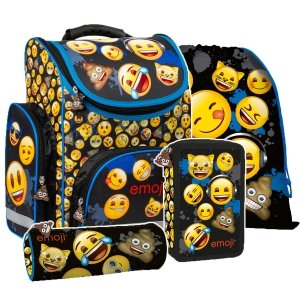 ZESTAW 4 el. Tornister szkolny ergonomiczny Emoji EMOTIKONY (TEMBEM12SET4CZ)