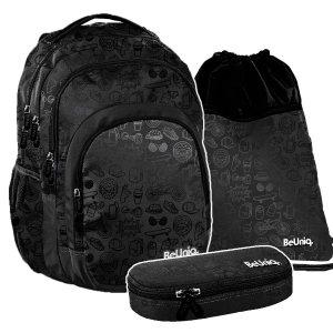 ZESTAW 3 el. Plecak szkolny młodzieżowy czarny, ICON Paso (PPIC20-2706SET3CZ)