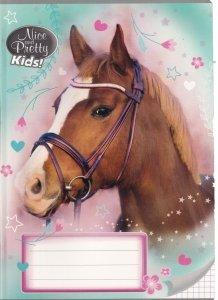 Zeszyt A5 w kratkę 16 kartek NICE AND PRETTY Konie HORSES mix (94623)