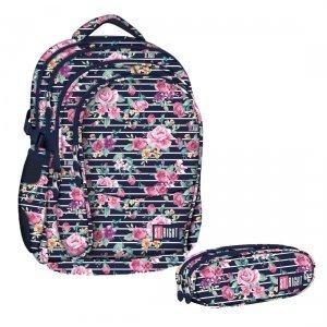 ZESTAW 2 el. Plecak szkolny młodzieżowy ST.RIGHT granatowy w pastelowe róże, LIGHT ROSES BP1 (18475SET2CZ)