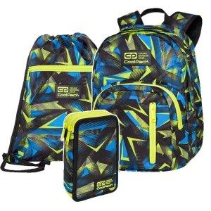 ZESTAW 3 el. Plecak CoolPack DISCOVERY 27 L żółte wzory, SETSQUARE (C38246SET3CZ)