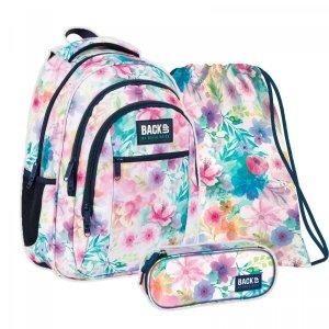 ZESTAW 3 el. Plecak szkolny młodzieżowy BackUP 26 L kwiaty, WIOSENNY (PLB4O18SET3CZ)