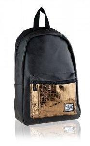 Plecak HASH czarny ze złotą kieszenią, GLAMOUR (502020069)