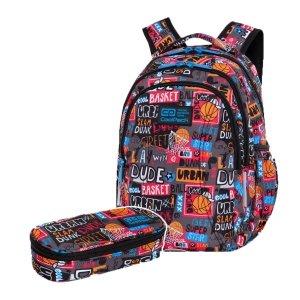 ZESTAW 2 el. Plecak wczesnoszkolny CoolPack JOY S 21L koszykówka, BASKETBALL (C48231SET2CZ)
