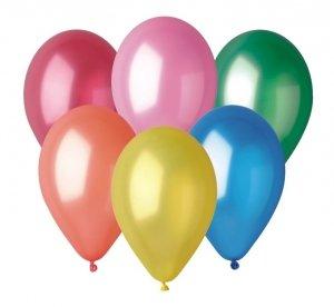 Balony różnokolorowe METALICZNE 25 cm GM90 100 sztuk, Gemar (GM90/82)