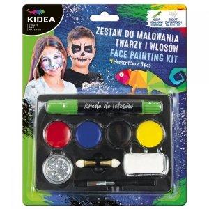 Zestaw do malowania twarzy i włosów 9 elementów KIDEA (ZMTWKA)