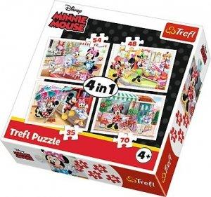 TREFL Puzzle 4 w 1 Minnie z przyjaciółmi, Myszka Minnie (34315)