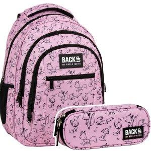 ZESTAW 2 el. Plecak szkolny młodzieżowy BackUP 26 L lisy, LOVE (PLB3O28SET2CZ)