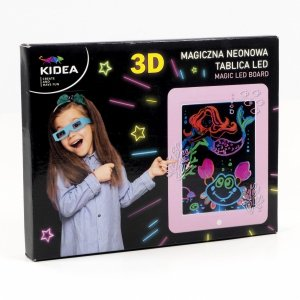 Magiczna neonowa tablica 3D LED KIDEA różowa (MNT3DLKAR)