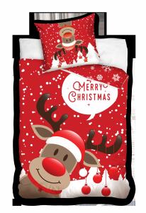 Pościel bawełniana świąteczna RENIFER 160 x 200 cm komplet pościeli (NL201050)
