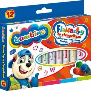Flamastry ze stempelkami BAMBINO 12 kolorów (28641)
