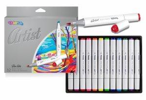 Markery dwustronne do szkicowania COLORINO Artist 12 kolorów (92470)