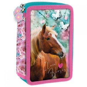 Piórnik trójkomorowy z wyposażeniem I LOVE HORSES Konie (PWTKO19)